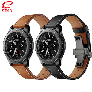 Image 1 - イタリア革バンドのためのギアs3 銀河時計 46 ミリメートル 22 ミリメートル時計バンドブレスレットhuawei社腕時計gtストラップ蝶バックル 46