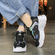 Graffiti Sneakers Women 2019 Casual Platform Shoes Mesh Breathable Sneakers Flat Black White Shoes Lace Up Autumn Zapatos Mujer new 2018 autumn women casual shoes platform lace up flats woman breathable white sneakers walking students shoes zapatos mujer