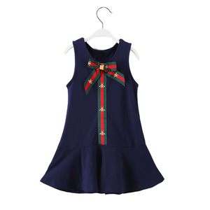 Chanjoycc Hoge-Kwaliteit Mode Britse Kinderen Outfits Koele Katoen College Stijl Meisjes Kleding Boog Blauw Peuter Zomer Jurk