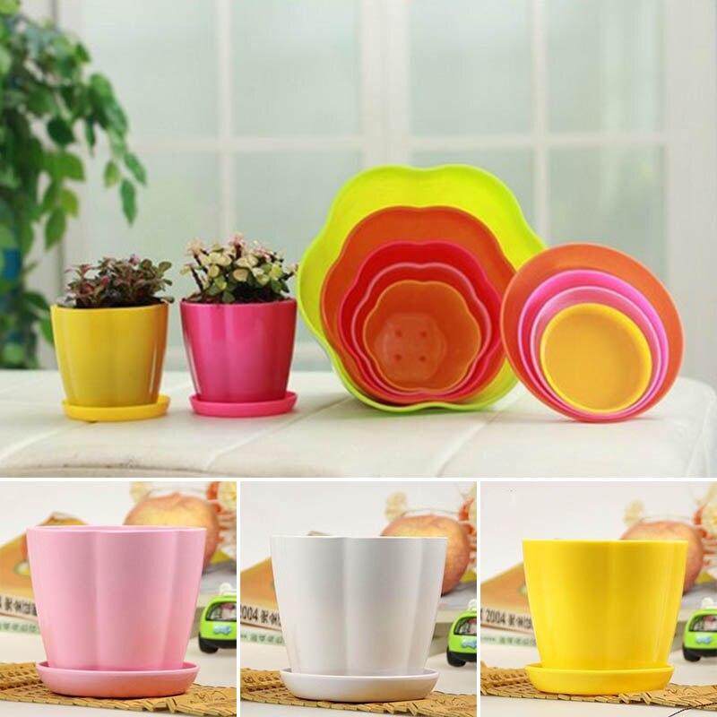 Plant Flower Pot Desk Decoration Plastic Home Office Decor Petal Design Colourful 1Pcs Thicken Mini  Plant Flower Pots