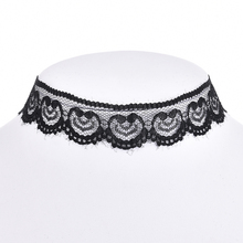 Vintage Heart Crochet White Black Lace Choker Necklace Torques Women Collar Necklaces Retro Gothic Charm Jewelry 90s