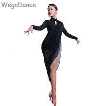 Платье для латинских танцев, женские сексуальные черные сетчатые платья для выступлений, Румба, танго, сальса, ча-ча, женские платья для танцев