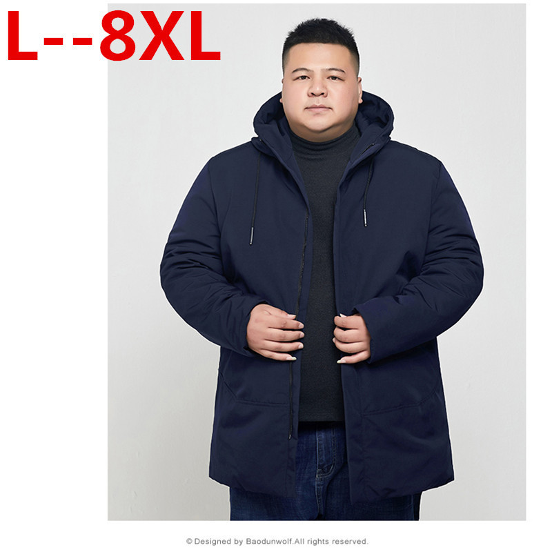 Plus Size 10XL 8XL 6XL  New Arrival Winter Long Jacket Cotton Thick Male High Quality Casual Fashion Parkas Cotton Coat Men