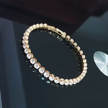 Fashionable Tennis Bracelet Gold Color Chain Crystal Wedding Bracelet for Women Jewelry Birthday Gifts Wholesale stylish champagne color faux crystal embellished bracelet for women
