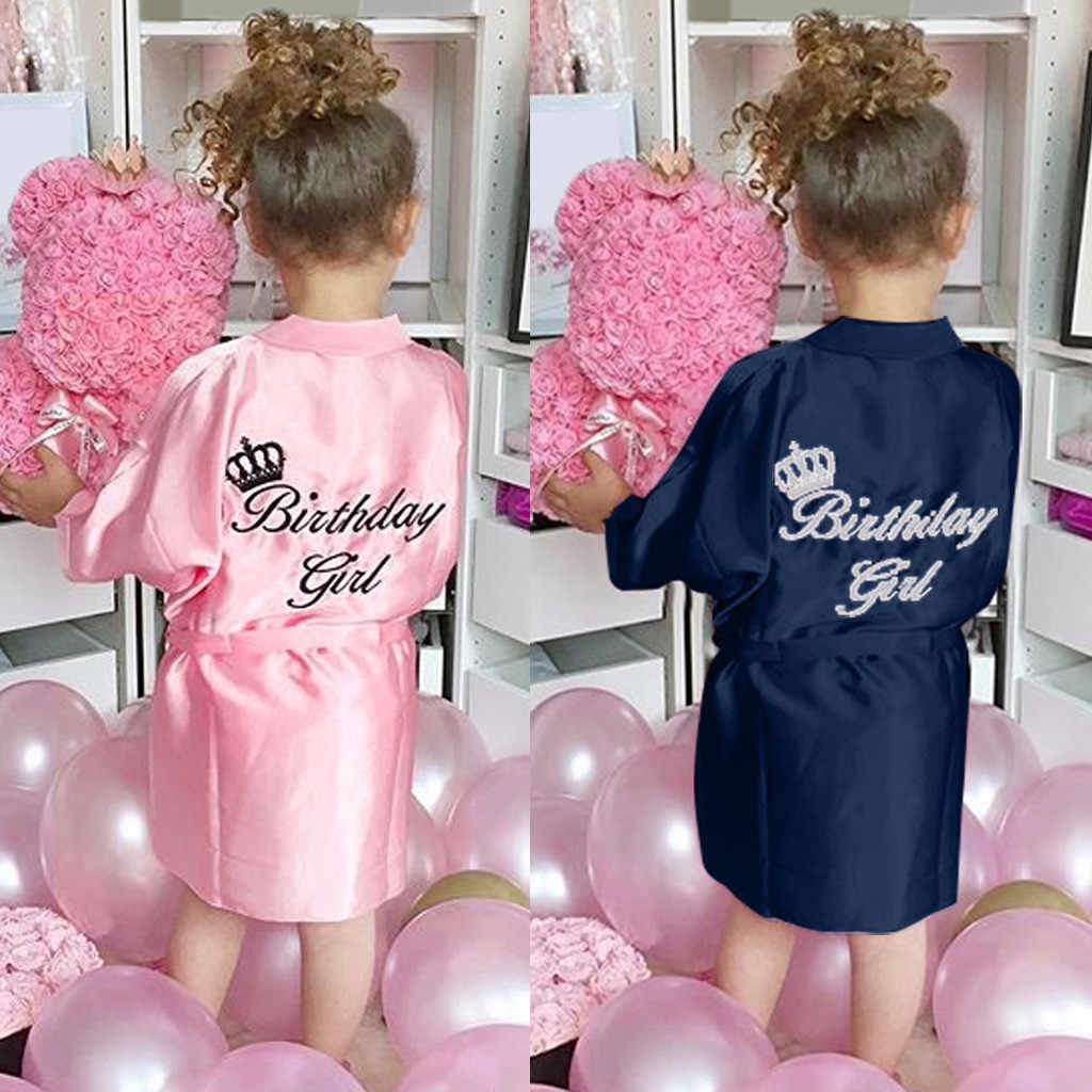 Neue Kinder Robe Satin Kinder Sommer Kimono Bad Roben Brautjungfer Geburtstag Mädchen Kleid Seide Kinder Mädchen Bademantel Nachthemd Robe