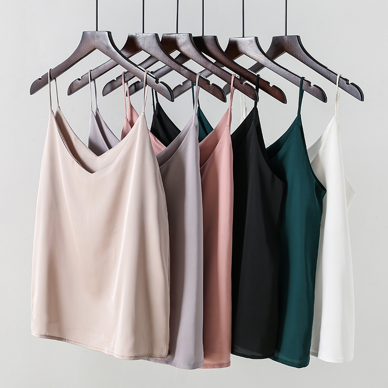 Korean Small Vest  Cami Sleeveless Tanks Top For Women's Bottoms With Smooth Satin Sexy Loose Tops And Shirts Worn Outside Women