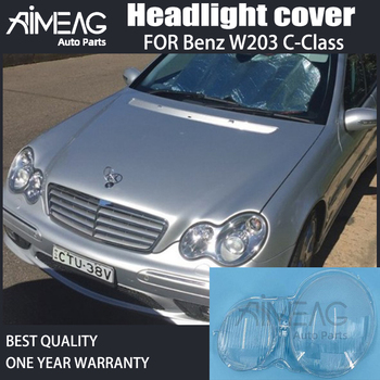 For Benz W203 C-Class C200K C230 C280 C300 Car Headlight Lens Glass Lampcover Lampshade Bright Shell Transparent Mask PVC image