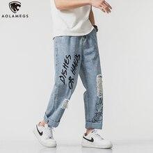 Aolamegs джинсы мужчины граффити печать тонкий джинсовые брюки свободного покроя all-матч отверстие рваные хип-хоп лето мода уличная
