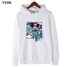 Long Sleeve Fleece Fashion Japanese Anime Lovely Pokemon Mens Hoodies  Pika Pikachu Man Cotton Hoodie Sweatshirt