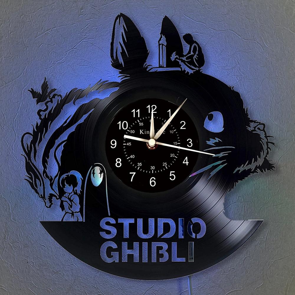 "Totoro Vinyl Record Wall Clock LED 12""Vinyl CD Quartz Clock | Home Decor Retro Studio Ghibli Anime Clock Unique Gift to Friends."