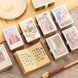 122Sheets/Pad Creative Retro Matchbox Memo Pad Students Protable Small Notebook Can Tear Notepad Paper Style Random