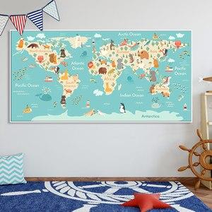 Постер в скандинавском стиле, животное, Карта мира, холст, картина, настенное искусство, Детские постеры, фотография стены, картины для декор...