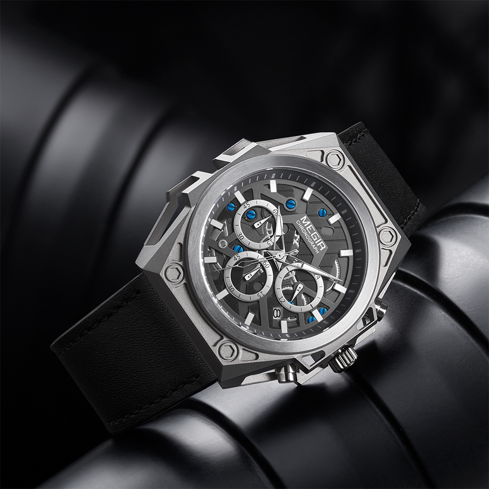 MEGIR Stainless Steel Mens Watches Waterproof Sports Men Quartz Wristwatches Chronograph Stop Watches for Man Male Clock Hour 4