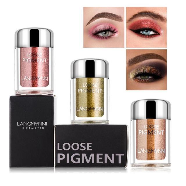 LANGMANNI Glitter Eye Shadow Metal Loose Powder Waterproof Flash Pigment Color Eye Shadow Powder Makeup Cosmetics TSLM1 1