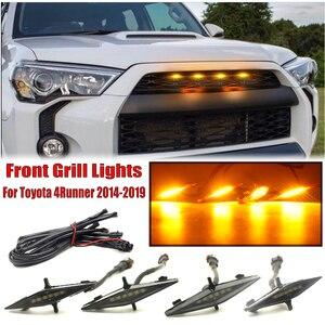 4 sztuk jasny bursztynowy przedni grill światła LED lampy zestaw dla Toyota 4runner 2014-2019 SR5 TRD Off-road Limited TRO Pro