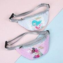 Waist-Bag Belt Fanny Girls Waterproof Children Cartoon for Unicorn Sequins Mermaid