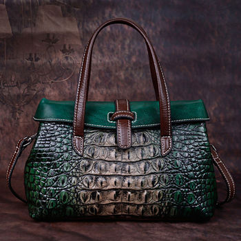 Leather Hand Bag Women's2020New Top Layer Leather Crocodile Shoulder Bag Women's Bag Vintage Leather Boston Bag
