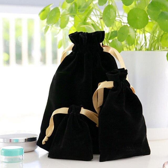 Oro Nastro Nero di Velluto Sacchetti Regalo 7x9cm 8x10cm 11x16cm 18x22 centimetri pacchetto di 50 può doro della stampa del logo Dei Monili di Trucco di imballaggio Borse Multiuso