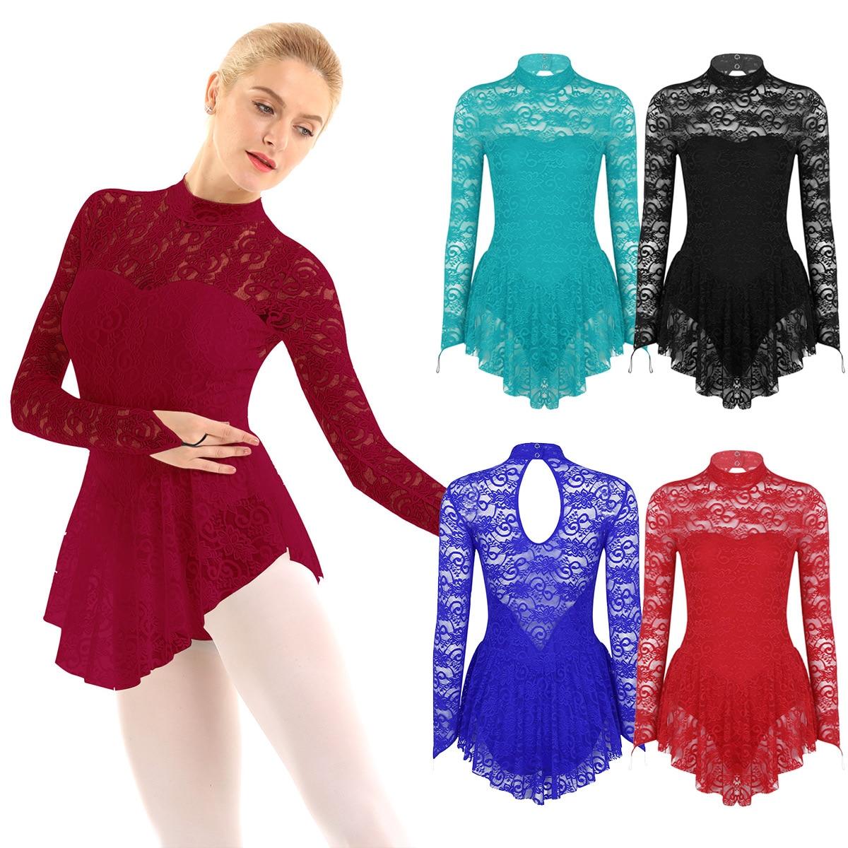 Image 5 - TiaoBug Adult Long Sleeve Soft Lace Tutu Ballet Gymnastics Leotard Women Figure Skating Dress Competition Lyrical Dance CostumesBallet   -