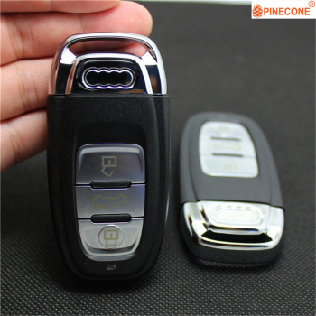 PINECONE for Audi Q5 Q7 A4l A3 A4 A5 A6 A8 Quattro Key Case 3 Button High Quality Replacement Car Key Fob Shell 2019 zinc alloy classic car key case cover for audi a1 a3 a4 a5 a6 a7 a8 quattro q3 q5 q7 2009 2015 auto key shell keychain
