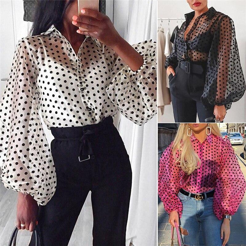2019 Elegant Women Long Lantern Sleeve Dot Print Shirt Blouses Tops OL See Through Perspective Black Lace Mesh Blouse Shirt Tops