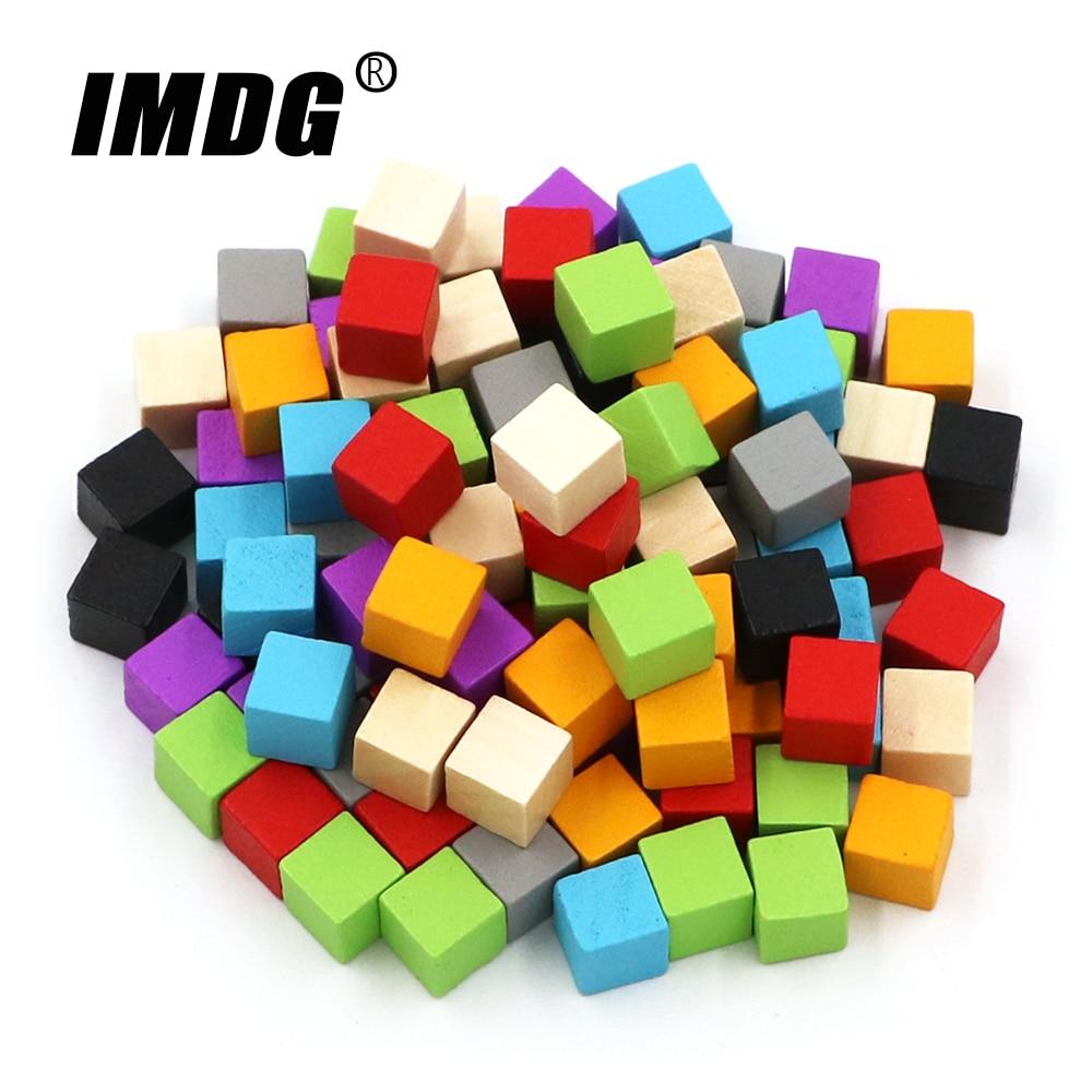 Деревянные кубики 100 шт./компл. пустые кубики самодельные Жетоны новые продукты 10 мм квадратные Угловые цветные настольные кубики для ранне...