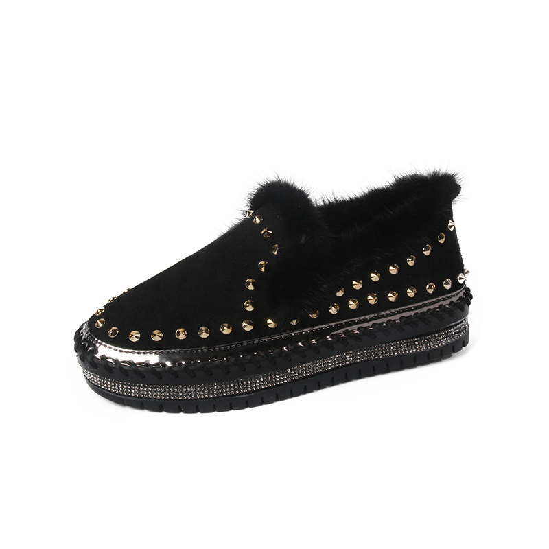 2019 Winter New Women Fur Loafers Comfortable Casual Platform Sneakers 82