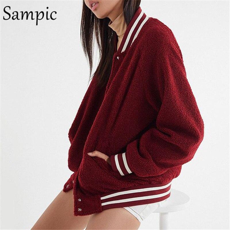 Sampic Baseball   Jacket   Women Long Sleeve Pocket Casual Red   Jacket   Fashion Ladies Autumn Winter   Basic     Jacket   Coat