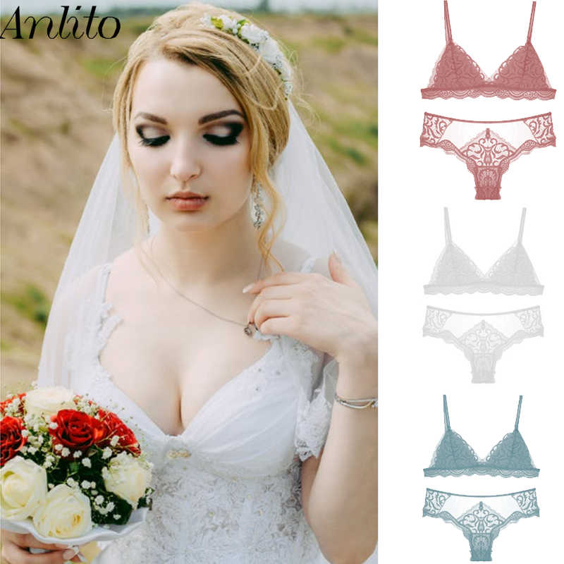 Anlito  Sexy Mesh Lace Lingerie Sets Thin Section Gather no Steel Ring Underwear Triangle Cup Bras Light Luxury Bra Set