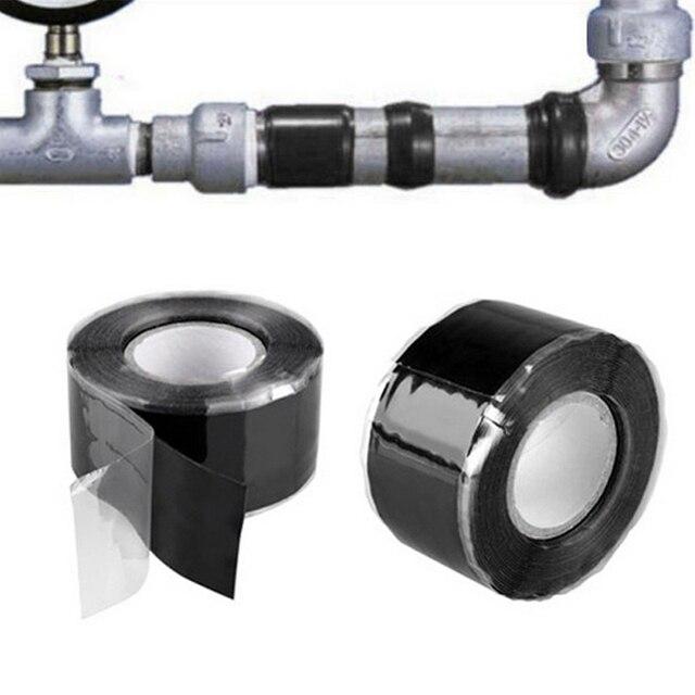 Fita adesiva de silicone para reparo, ferramenta útil à prova dágua para resgate e fundição automática de jardim, conector preto de tubulação de água, 1 peça