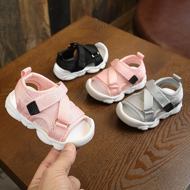 2020 Baby Boy Sandals Black Gray Pink Canvas Infant Girl Sandals Toddler Summer Walking Shoes Newborn Sneaker Beach Shoes D04143