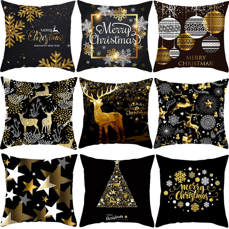 45cm Christmas Black Gold Cushion Cover Merry Christmas Decorations for Home Cristmas Ornaments Natal Navidad Gift New Year 2021