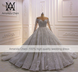 Image 2 - High Quality Long Sleeve Rhinestone Crystal Luxury Wedding Dress 2020 Ball Gown