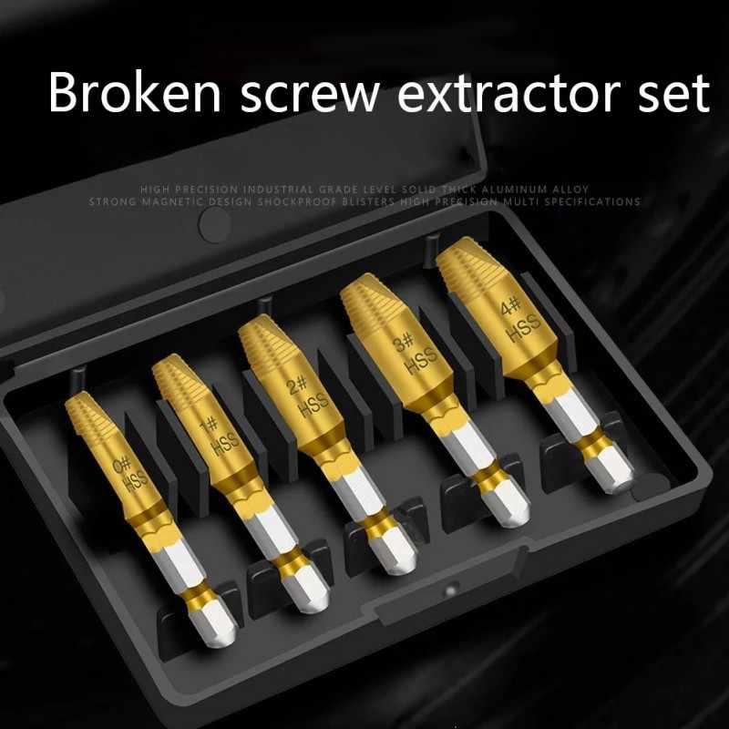 Professional 5pcs Hex Screw Easy Out Drill Bit Set Mintiml Screw Tool Parts US