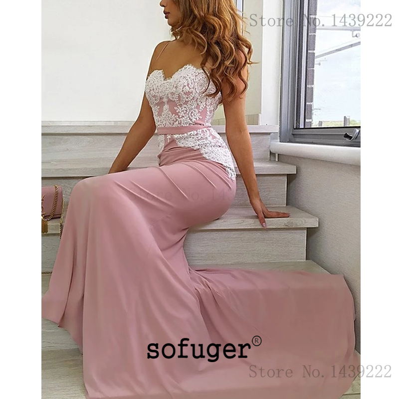 Pink Spaghetti Straps   Evening     Dresses   Prom Mermaid Lace Appliques Long Arabic Muslim Special Occasion Robe De Soiree Plus Size