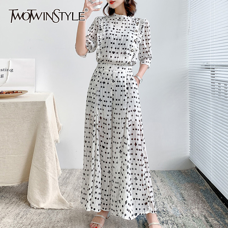 TWOTWINSTYLE Casual Loose Women Two Piece Sets O Neck Lantern Half Sleeve Top High Waist Full Length Pant Polka Dot Suits Female