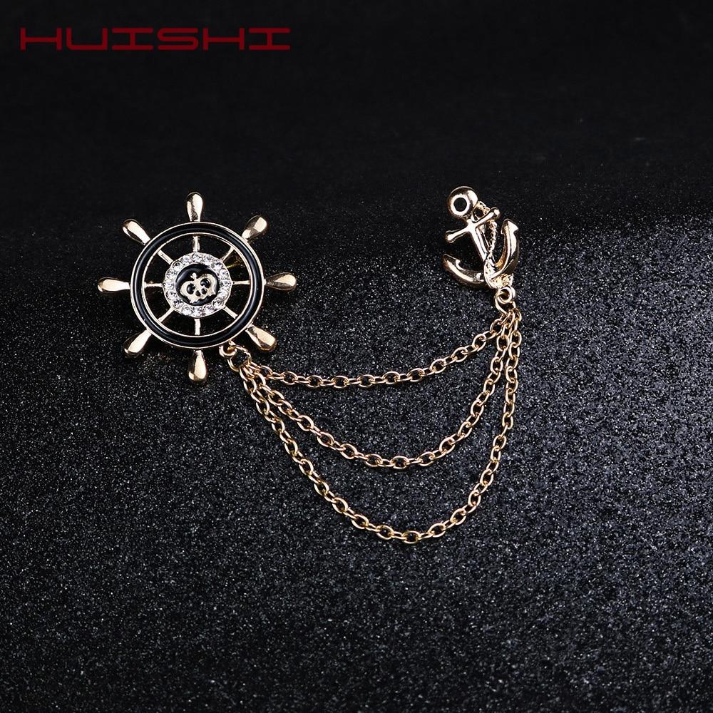 HUISHI Cheap Brooch Korean Style Retro Crystal Rudder Brooch Pin Tassel Chain Suit Shirt Badge Collar Lapel Pin For Men Women