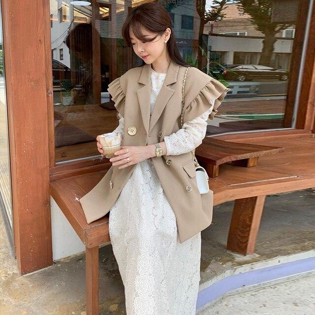 [EWQ] 2020 Summer New Ruffles Turn-down Collar Loose Khaki Vest Office Lady Elegant Simple Ladies Jacket Chic Top Women Coats 2