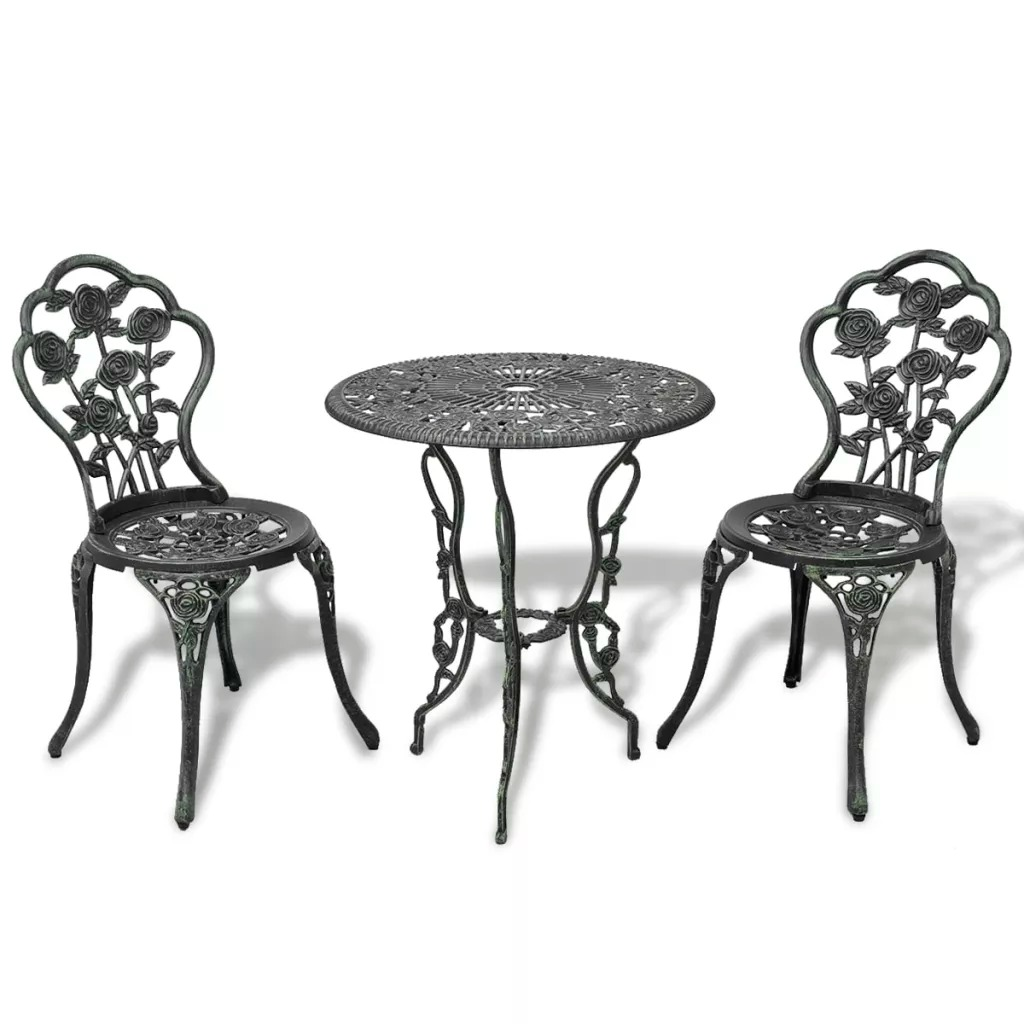 VidaXL 3 Piece Bistro Set Cast Aluminium For Garden Balcony Cafes All-Weather Anti-UV Leaf Design Outdoor Garden Table Chairs