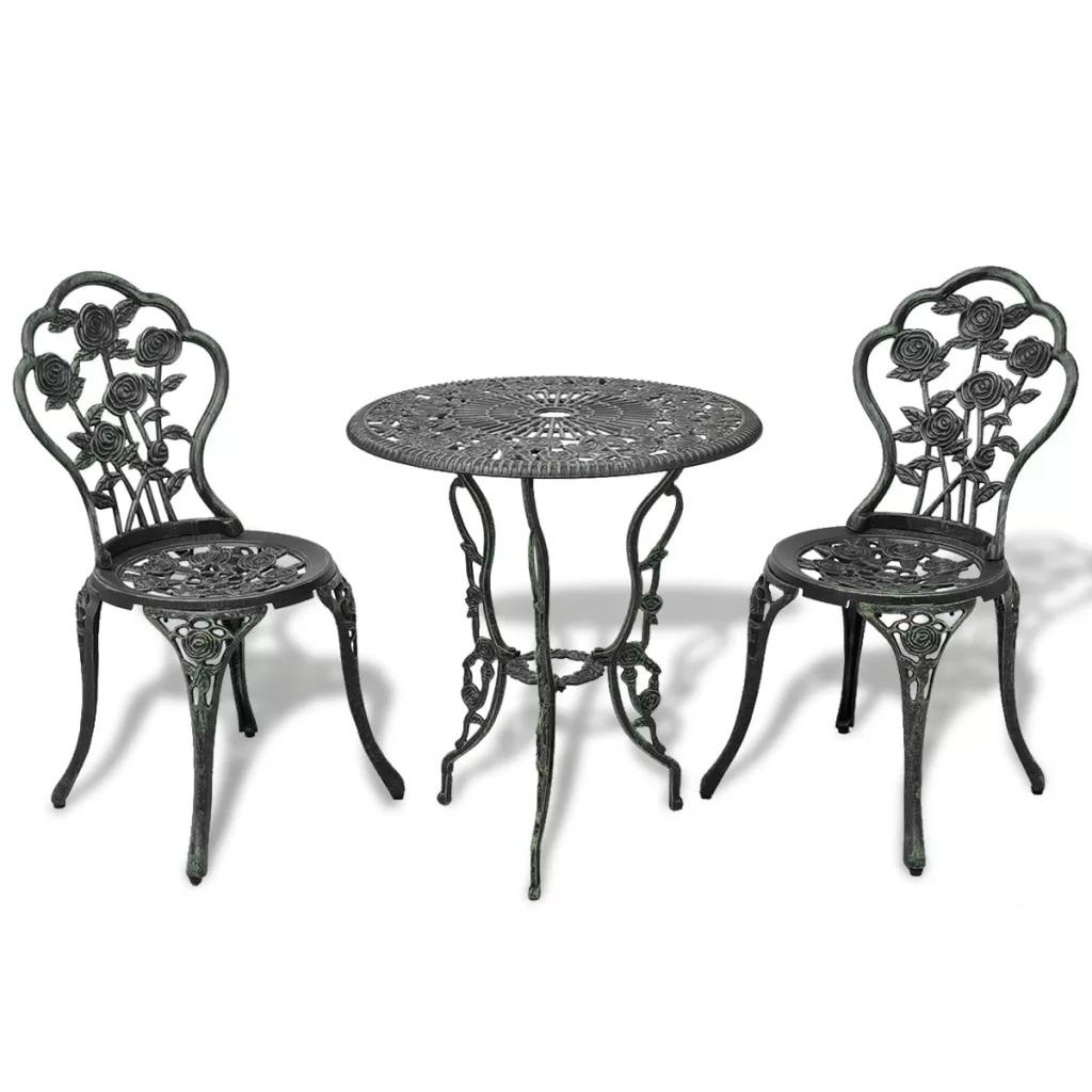 VidaXL 3 Piece Bistro Set Cast Aluminium For Garden Balcony Cafes All-Weather Anti-UV Leaf Design Outdoor Garden Table V3
