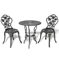VidaXL 3 sztuka zestaw do bistro odlew aluminiowy do ogrodu balkon kawiarni w każdych warunkach pogodowych anty uv liść projekt ogrodowa stół V3      -