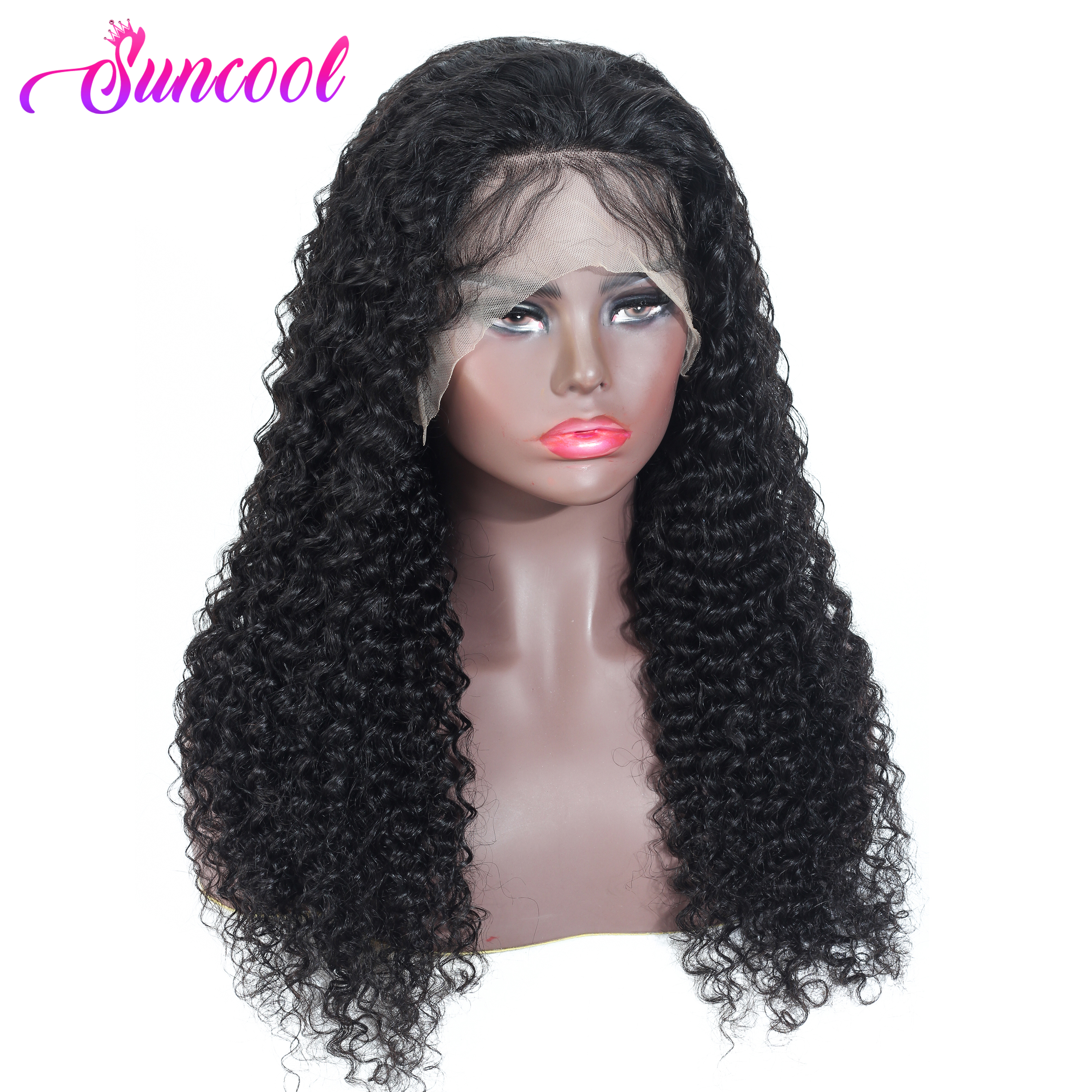 SUNCOOL13x4/13x6 Lace Front Human Hair Wigs Malaysian Jerry Curl Human Hair Wigs 360 Lace Frontal Wig Pre Plucked With Baby Hair