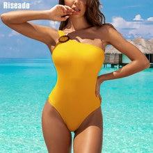 Riseado Neue 2020 Badeanzug Einteilige Schulter Bademode Weibliche High Cut Strand Tragen Gelb Badeanzüge Frauen Sexy Bademode