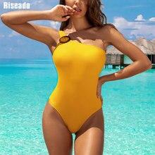 Riseado yeni 2020 mayo tek parça bir omuz mayo kadın yüksek kesim plaj kıyafeti sarı mayo kadınlar seksi Beachwear