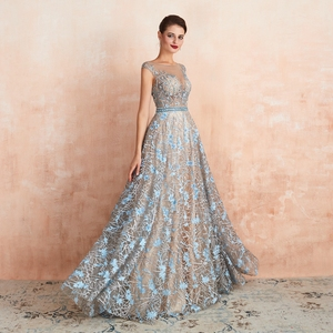 Image 5 - Blue Lace Prom Dresses 2020 Beaded Rhinestone A Line Cap Sleeves Long Sheer Neck Evening Gowns Engagement Dress Abendkleider