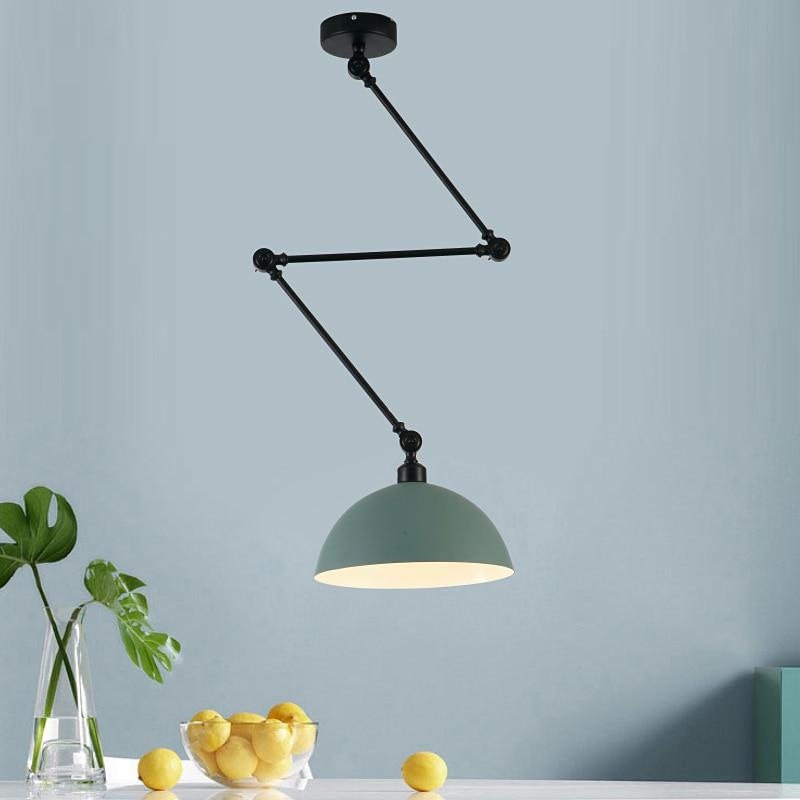 Design nordique réglable bras Long suspension en Aluminium appliques LED plafond suspension lampe pour salon chambre salle à manger