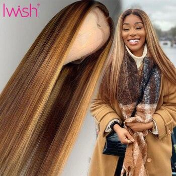 13x4 스트레이트 하이라이트 색상 브라질 레미 헤어 가발 150% 사전 뽑아 표백 된 매듭 레이스 전면 인간의 머리 가발 흑인 여성을위한
