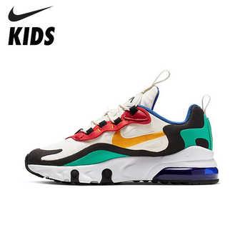 Nike air max 270 react (gs) crianças originais sapatos almofada de ar malha crianças tênis de corrida confortáveis esportes # BQ0102-001
