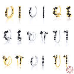 Aide 925 Sterling Silver Black Cubic Zirconia Jeweled Ear Cuff For Women Double Layer Diamond Arc Line Clip Earring Fine Jewelry
