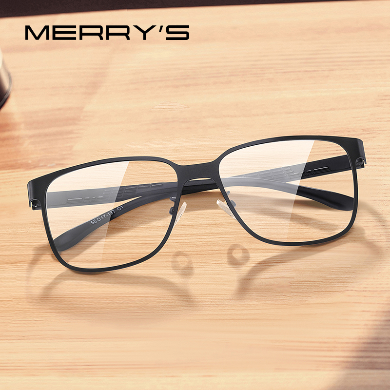 MERRYS DESIGN Men Business Style Alloy Glasses Frame Male Square Ultralight Eye Myopia Prescription Eyeglasses TR90 Legs S2104